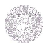 Stillend Plakatschablone Vektor Zeilendarstellung des Stillens, Säuglingsnahrung Kindertagesstättenelement: Brustpumpe, Stillen, stock abbildung