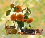 stilleven dat uit zonnebloemen en koffer bestaat Stock Foto's