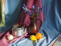 Stilleven en Voorwerpen van het Leven en Fruit Royalty-vrije Stock Fotografie