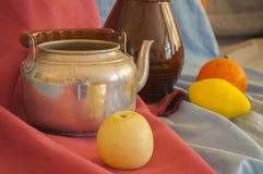 Stilleven en Voorwerpen van het Leven en Fruit Royalty-vrije Stock Afbeeldingen