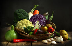 Stilleven geoogste groenten landbouw op houten backgrou Stock Fotografie