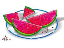 Stilleven, gesneden watermeloen op een plaat Digitale tekening Stock Afbeeldingen