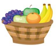 Stilleven 1 mand met vruchten - bananen, druiven, appelen Giften van de herfst oogst stock illustratie
