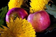 Stilleven met appelen en bloemen royalty-vrije stock foto