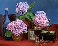 Stilleven met bloemen en wijnstok Stock Foto