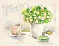 Stilleven met boeket van bloemen Royalty-vrije Stock Afbeeldingen