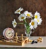 Stilleven met camomiles en schaak Stock Foto's