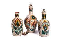 Stilleven met ceramische met de hand gemaakte flessen Stock Afbeeldingen