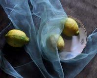 Stilleven met citroenen en blauwe stof Stock Foto's