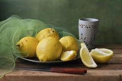 Stilleven met citroenen en groen gaas royalty-vrije stock fotografie