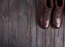 Stilleven met de schoenen van het mensen` s leer Royalty-vrije Stock Afbeeldingen