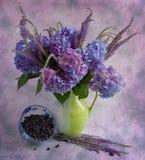 Stilleven met een blauwe hydrangea hortensia Royalty-vrije Stock Afbeeldingen