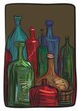 Stilleven met flessen Stock Foto's