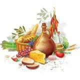 Stilleven met het voedsel van het land royalty-vrije illustratie