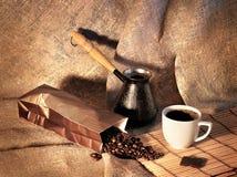 Stilleven met koffiebonen, een Turk en een Kop van koffie Royalty-vrije Stock Afbeelding