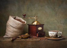 Stilleven met kop van koffie Stock Afbeeldingen
