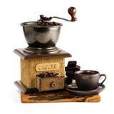 Stilleven met kop van koffie en koffie-molen royalty-vrije stock foto
