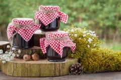 Stilleven met kruiken van jam en decoratie in rustieke stijl Royalty-vrije Stock Fotografie