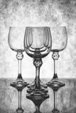 Stilleven met lege glasdrinkbekers royalty-vrije stock foto's