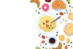 Stilleven met ontbijt in een vlakke hoogste mening van de krabbelstijl en met plaats voor tekst vectorillustratie royalty-vrije illustratie