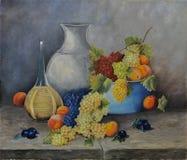 Stilleven met perziken, druiven en wijn, olieverfschilderij Royalty-vrije Stock Afbeelding