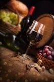 Stilleven met rode wijn Stock Afbeelding