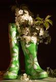 Stilleven met rubber knie-laarzen en bloemen van c Stock Afbeeldingen