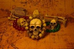 Stilleven met schedel, selectieve nadruk Royalty-vrije Stock Foto's