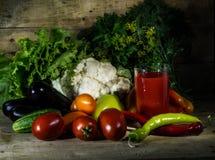 Stilleven met tomatesap en groenten Royalty-vrije Stock Fotografie