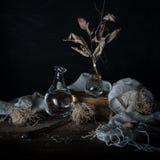 Stilleven met uien en droge bladeren in een vaas op een houten lijst aangaande een donkere achtergrond Royalty-vrije Stock Afbeeldingen