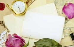 Stilleven met uitstekende het schrijven instrumenten Royalty-vrije Stock Afbeeldingen
