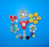 Stilleven met van verschillende kleuren de knopen Stock Foto