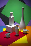 Stilleven met vazen en koppen op gekleurd Stock Foto's