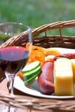 Stilleven met voedsel en wijn Stock Fotografie
