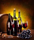 Stilleven met wijnflessen Royalty-vrije Stock Afbeelding