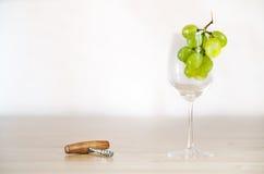 Stilleven met wijnglas en een kurketrekker Stock Foto's