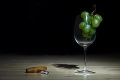 Stilleven met wijnglas en een kurketrekker Royalty-vrije Stock Afbeeldingen