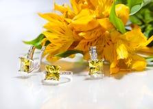 Stilleven van de ringen, de oorringen en de bloemenorchideeën Royalty-vrije Stock Afbeelding