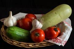Stilleven van groenten in een mand Royalty-vrije Stock Foto's