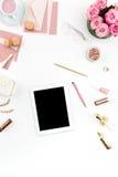 Stilleven van maniervrouw, voorwerpen op wit Royalty-vrije Stock Afbeeldingen
