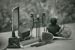 Stilleven van uitstekende punten Voorwerpen van antiquiteit stock foto
