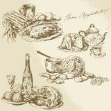 Stilleven, voedsel, vlees, groenten vector illustratie