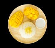 Stilleven zoete kleverige rijst met mango Stock Fotografie