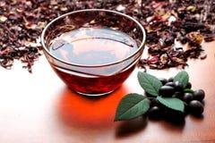 Stillevenkop van zwarte thee met muntbladeren op de droge achtergrond van de karkadethee Royalty-vrije Stock Foto