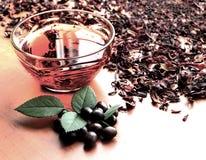 Stillevenkop van zwarte thee met muntbladeren op de droge achtergrond van de karkadethee Royalty-vrije Stock Fotografie