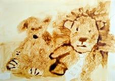 Stillevenvoedsel het schilderen van zacht speelgoed stock illustratie
