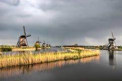 Stillhet efter stormen på Kinderdijk Royaltyfria Foton