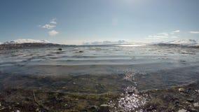 Stillhet vinkar slå den steniga kusten i ljust vårsolsken med klar blå himmel lager videofilmer