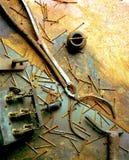 Stillife di vecchi strumenti arrugginiti Immagini Stock