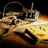 Stillife di vecchi strumenti arrugginiti Fotografia Stock Libera da Diritti